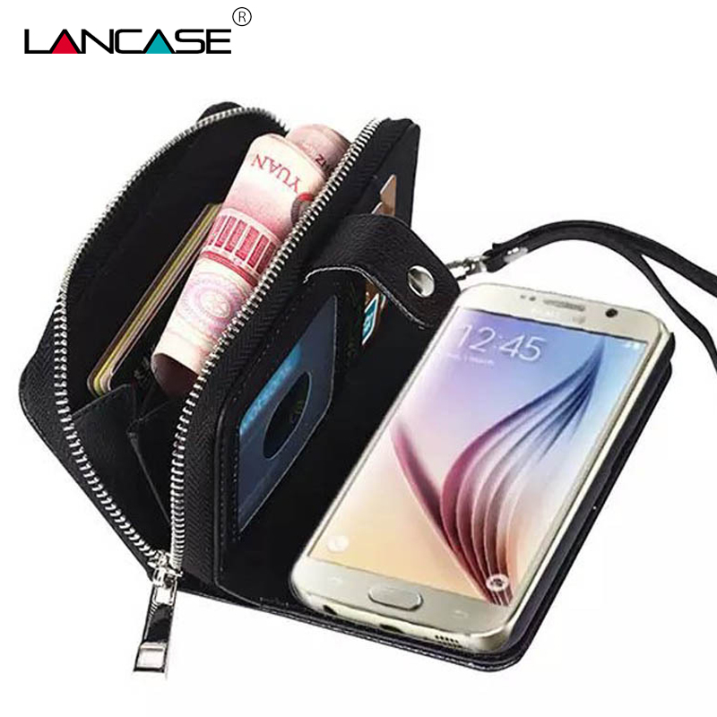 LANCASE pro pouzdro Samsung Galaxy S6 Multifunkční kožené pouzdro pro Samsung S6 Edge S7 Edge Case Coque S8 Plus odnímatelná peněženka