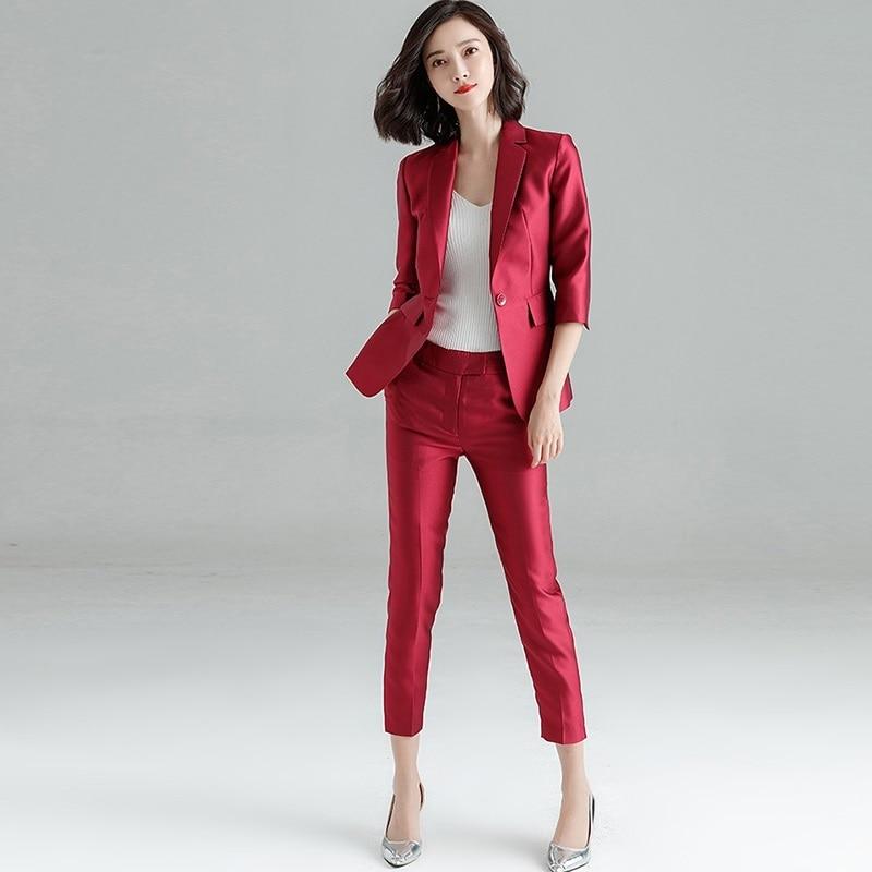 Весна Осень деловые костюмы, женщины вежливость Формальные Брюки Костюмы, 2018 новый, офис леди костюм комплект, Корейская версия формальная