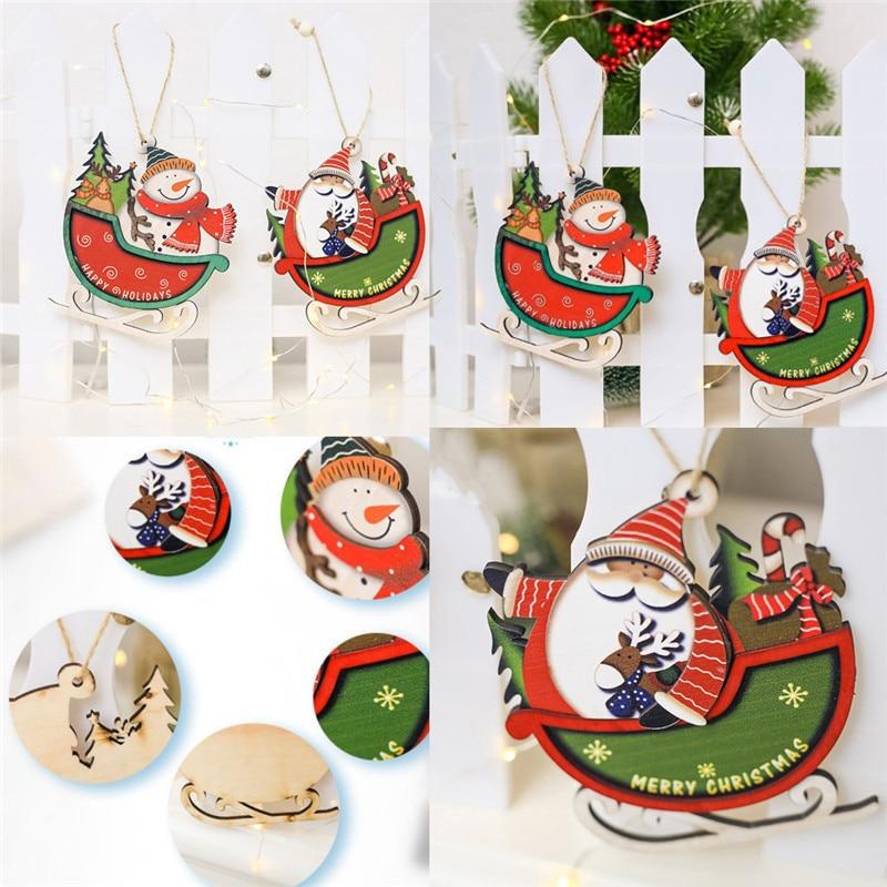 Diamond 2018 Santa Christmas Tree Christmas Pendant Cute Wood Sleigh Pendant Gift Home Hanging Decorations Drop Ornaments #25