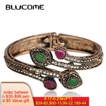 Blucome Vintage Green Branch Flower Bangles Red Water Drop Resin Women Lady Bangle Bracelet Hand Crystal Turkish Jewelry Gifts(China)