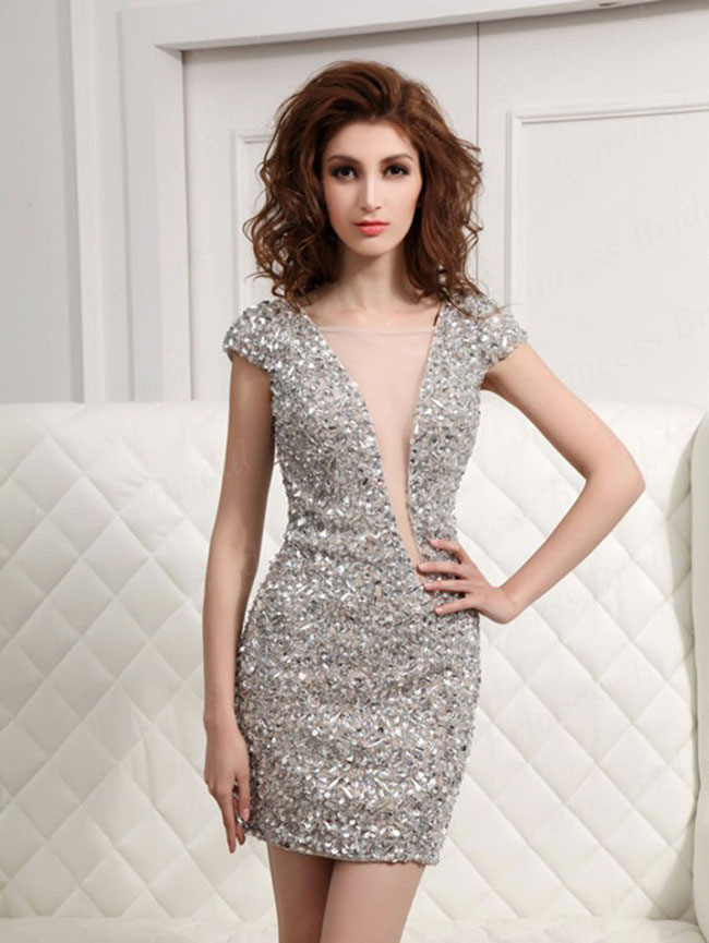 Elegant Short Sleeves Scoop Straight Cocktail Dresses 2018 Prom Dresses Beaded Crystal Sexy Open Back Formal Party Gowns