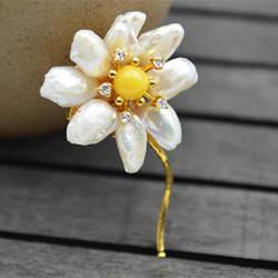 Amxiu ручной работы природные формы жемчуга брошь с пчелиным воском двойной используется цветок кулон 925 пробы серебряные броши булавки