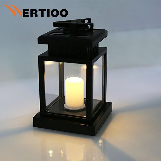 Attractive Solar LED Outdoor Candle Lamp Garden Light Waterproof Outdoor Flicker  Flameless Candle Hanging Lamp Home Garden