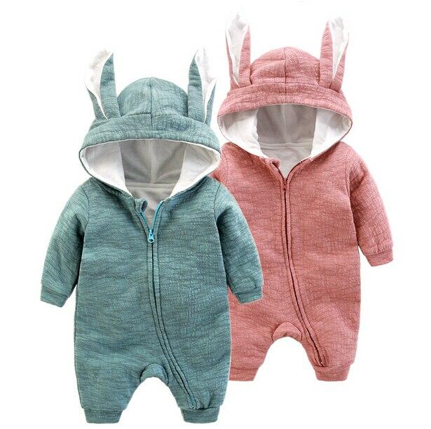 dc208132967c Baby Girl Jumpsuit Cute Rabbit Hoodies Long Sleeve Baby Romper ...
