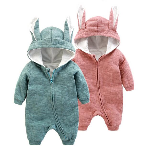 Bebé Mono Lindo Conejo Sudaderas Con Capucha de Manga Larga Del Mameluco Del Bebé Ropa de Moda Bebé de Algodón Ropa de Bebé Recién Nacido