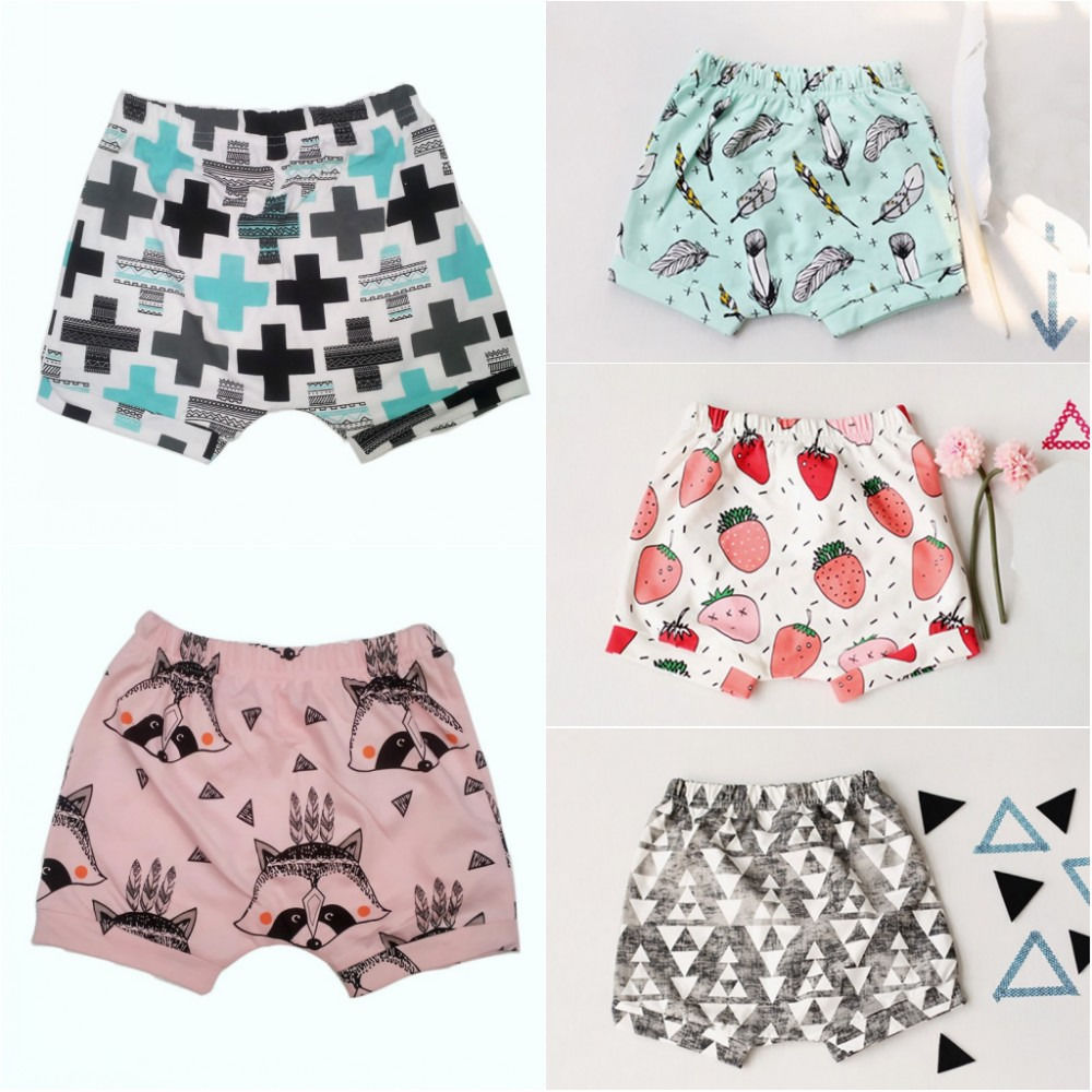 2017 Summer Newborn Kids Baby Boys Girls Casual Pattern Printed Short Pants Elastic Waist Cotton Shorts grey summer girls short leggings triple ruffle panties for children baby elastic waist skinny shorts pants