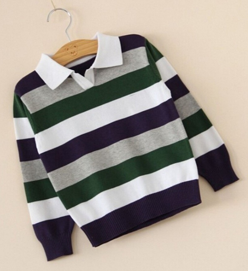 Baby boy sweater Stripe fashion brand Spring Autumn children clothes V-neck designer party kid Casual sweater camiseta infantil (4)