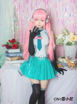 Anime! Supersonico Sonico Racing Suit Uniform Girl Cosplay Costume Blue Green Lolita Women Dress Custom-made Size Free Shipping