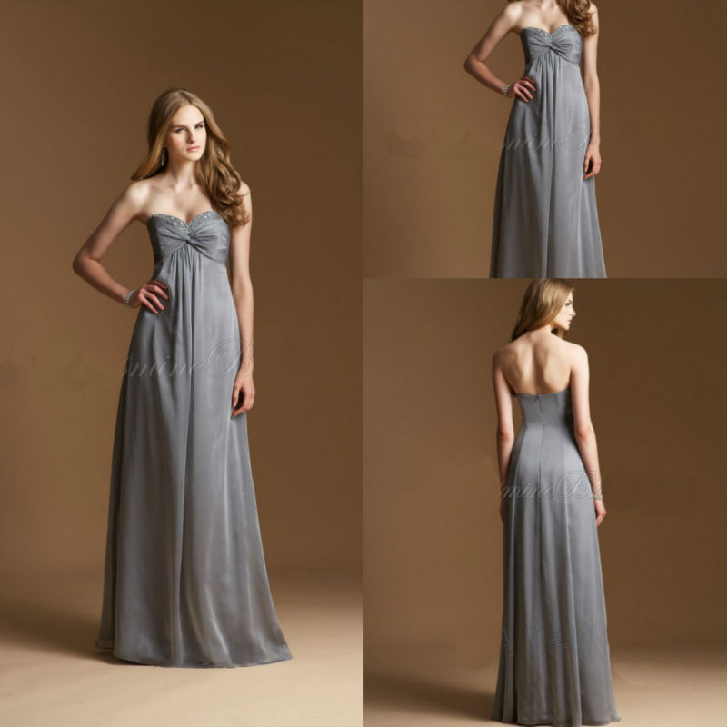 Elegant Grey Sweetheart A Line Long Bridesmaid Dressesgowns Chiffon