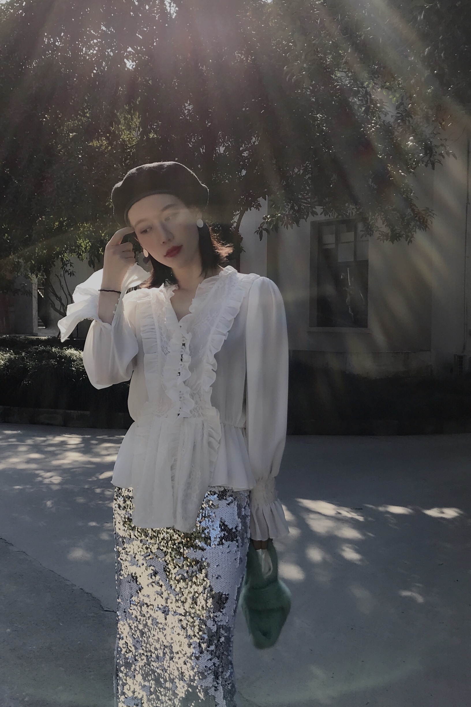 Livraison gratuite 2019 nouvelle mode noir et blanc dentelle chemises pour les femmes à manches longues Blouses royales imprimé hauts Bandage XS XL printemps - 6