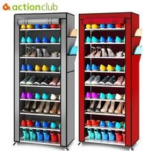 أكتيونكلوب أكسفورد قماش الحد الأدنى متعدد الوظائف الغبار خزانة الأحذية رفوف 10 طبقة 9 شبكة الأحذية منظم الرف