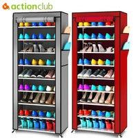Actionclub Oxford Cloth Minimalist Multi functional Dustproof Shoe Cabinet Shoes Racks 10 Layer 9 Grid Shoe Organizer Shelf