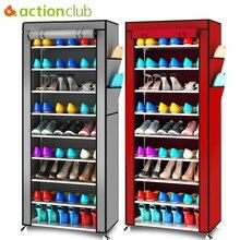 Actionclub estante organizador de zapatos de tela Oxford minimalista, multifuncional, para calzado a prueba de polvo, armario con estantes para zapatos de 10 capas, 9 rejillas