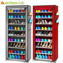Actionclub oxford pano minimalista multi funcional dustproof sapato armário sapatos cremalheiras 10 camada 9 grade sapato organizador prateleira