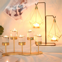 Metal Transparent Glass Candlestick Holder Wedding Table Decor @LS