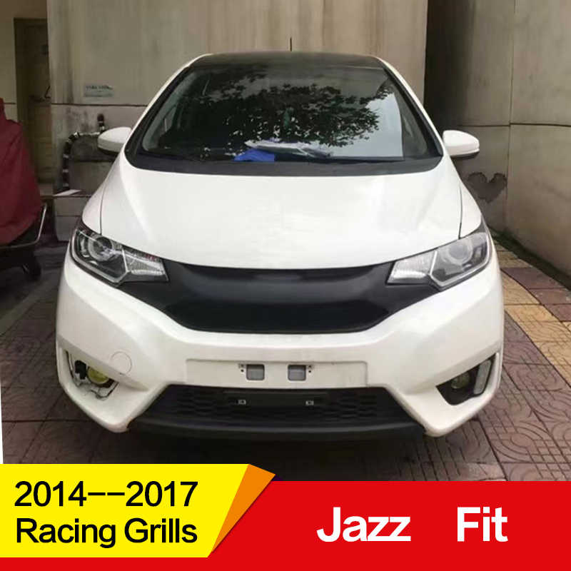 Use for Honda jazz fit Racing Grills 2014 15 16 17 Year carbon fibre Refitt Front Center Racing Grille Cover Accessories