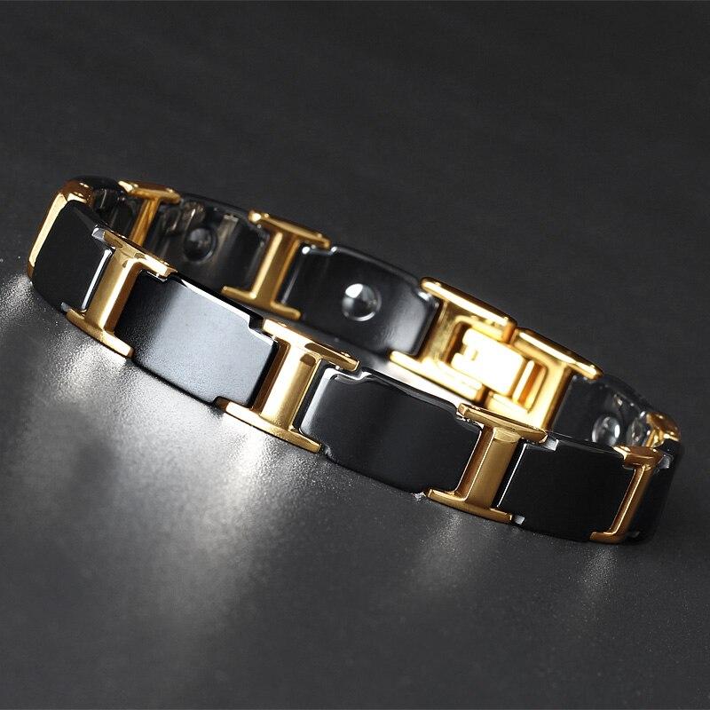 TrustyLan Golden Stainless Steel Handmade Jewelry Classic Link Health Magnetic Bracelet Men Friendship Mens Ceramic Bracelets trendy top white ceramic bracelet elegant star health care titanium bracelets