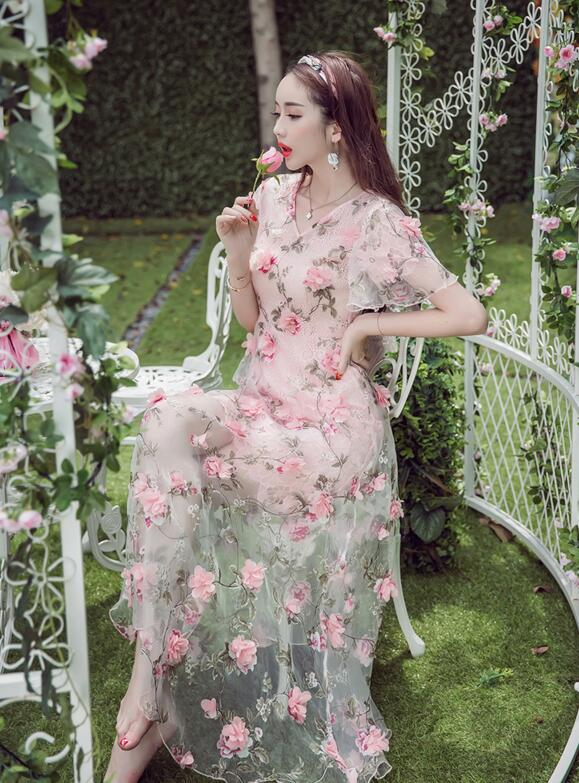 Free Shipping High Quality Sweet Hot Sale V Collar  Flower Decorated Flare Sleeve Woman Ou Gensha Long Dress