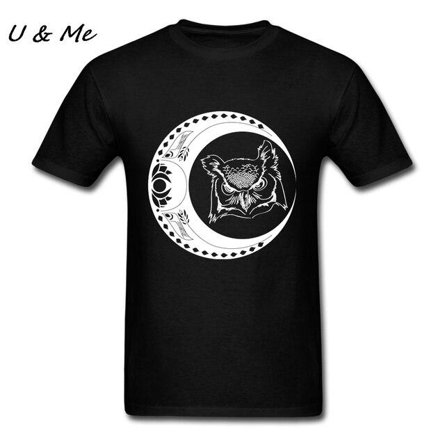 d4732ee6ff26 T Shirt Uomo Gufo e la Luna T Shirt Siti di Moda Pre cotone Harajuku ...