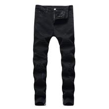 Fashion 2019 Spring autumn stretch skinny pants men Distressed black Fold Pleated Biker streetwear Ripped hole Pencil jeans mens