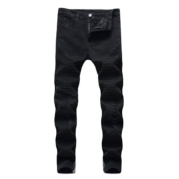 Fashion 2020 Spring autumn stretch skinny pants men Distressed black Fold Pleated Biker streetwear Ripped hole Pencil jeans mens mcckle mens ripped skinny jean trousers streetwear pleated black distressed biker jeans pants male fashion denim joggers
