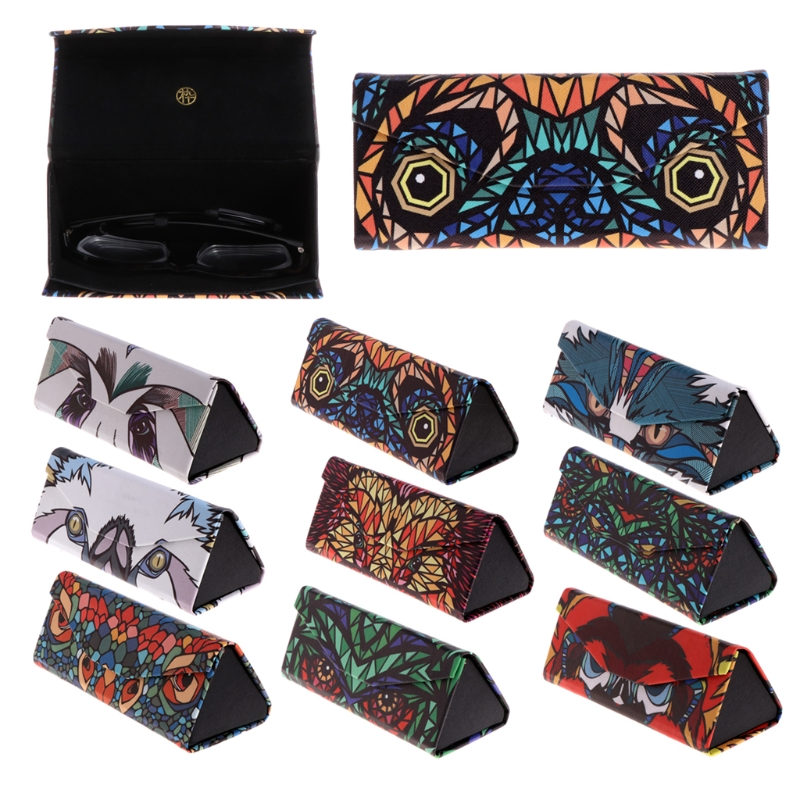 Triangle Foldable Glasses Case Cartoon Animal Eyeglasses Sunglasses Caee Box