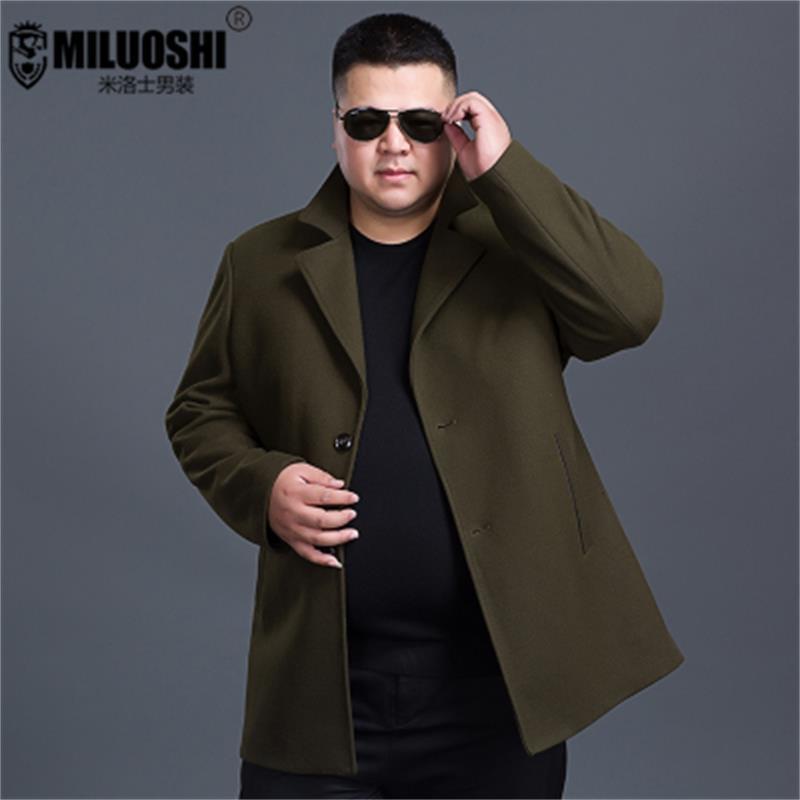 Talla grande 10XL 9XL 8XL 6XL 5XL chaquetas y abrigos de un solo botón Casual para hombre chaquetas de mezcla de lana de invierno completo para hombre abrigo de lana
