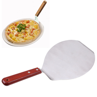 WHISM Stainless Steel Wooden Handle Pizza Shovel Cake Holder Baking Tools Cheese Cutter Spatula Peels Lifter
