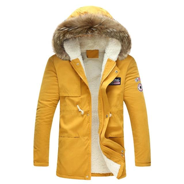 Cheap Men's winter jacket 2018 New Fashion Windproof  Warm Wool Liner Winter jacket Men Hooded Parka Men Winter Coat Men