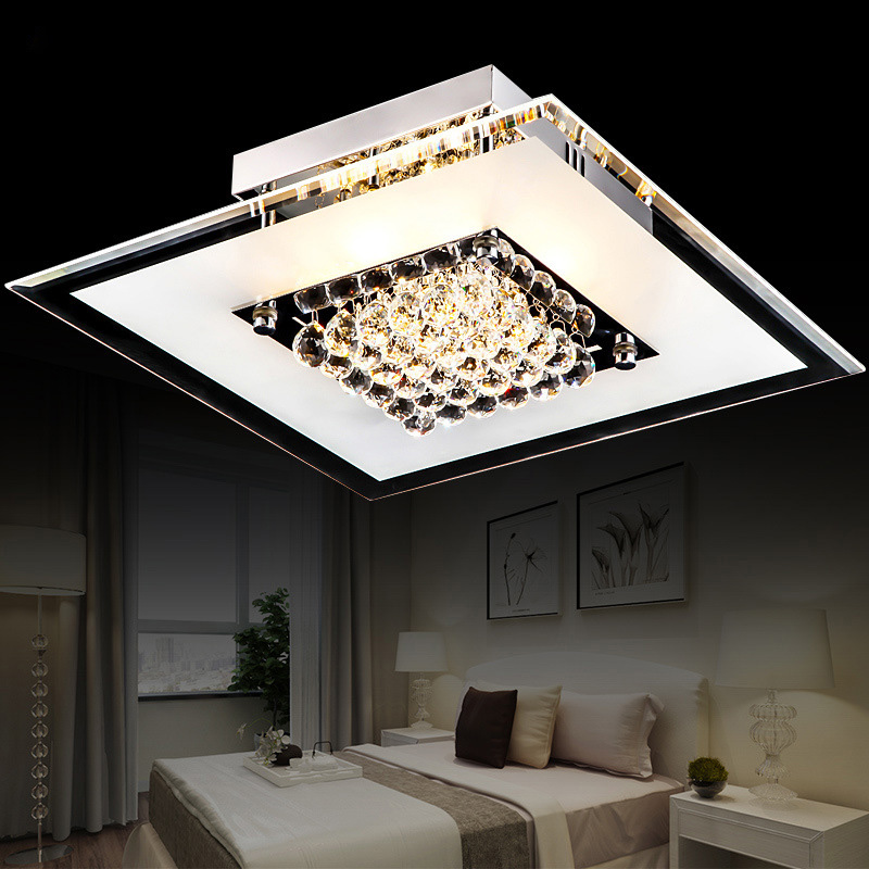 Elegant design clear glass k9 crystal bed room ceiling light Lustre Luminarias Minimalist Plafonnier Moderne Lamparas de Techo noosion modern led ceiling lamp for bedroom room black and white color with crystal plafon techo iluminacion lustre de plafond