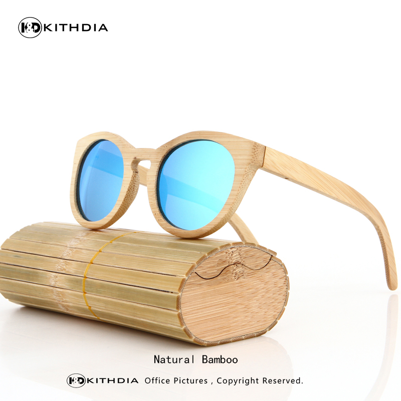 KITHDIA New Bamboo Sunglasses Men Wooden Sunglasses Women Brand Designer Vintage Wood Sun Glasses Oculos de sol masculino