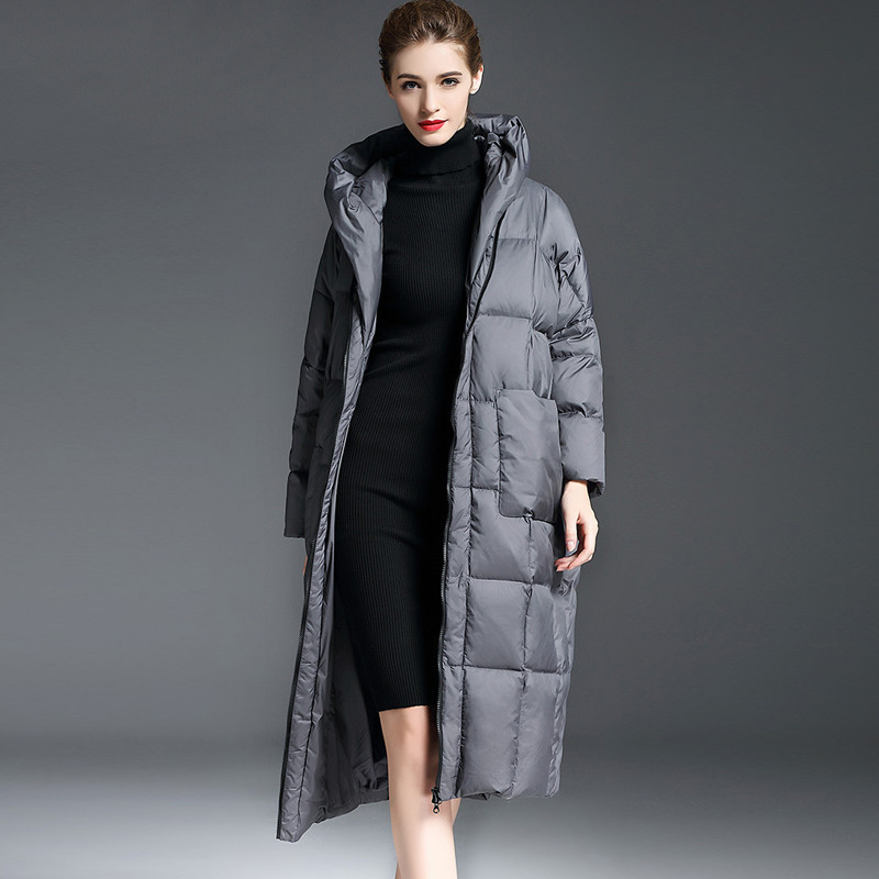 Winter Fashion Elegant Women Casual Loose Cocoon Coat Parkas long hooded duck Down Jacket Female Thick Warm Outwear Plus Size101