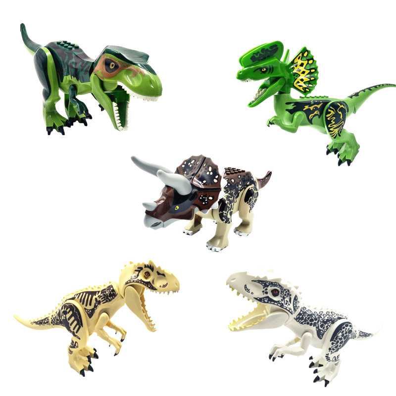 Big Jurassic Dinosaur World bricks Figures Triceratops Tyrannosaurs Rex Diy Building Blocks compatible with Legoingly Dino Toys