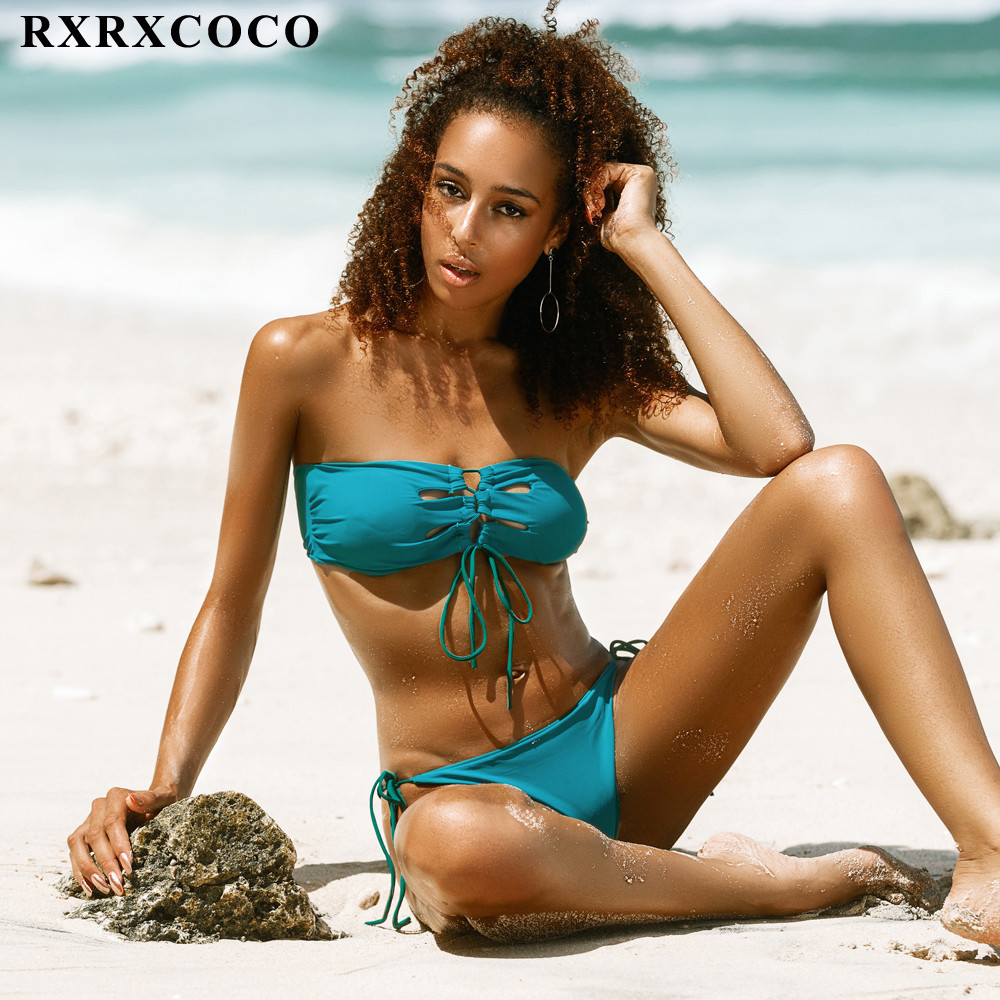 RXRXCOCO Bikini 2017 Vintage Sexy Ruffled Bandeau Bikini Set Summer Style Swimwear Women Bathing Suit Push Up Brazilian Swimsuit bohemian ruffled bandeau bikini