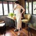 TIC-TEC chinese traditional dress women vintage lace cheongsam long qipao oriental dresses elegant formal evening clothes P2943
