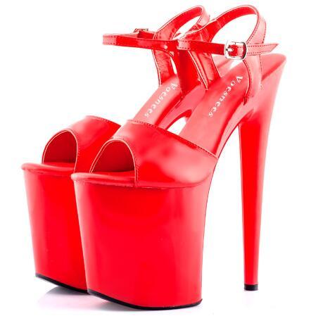 Sexy Sandales Européen 20 Talons Noir rouge Américain Défilés Discothèque Haute Femmes À Brevet Jour Cm chaussures En Et Déteste Cuir Haute 8nOPwkX0