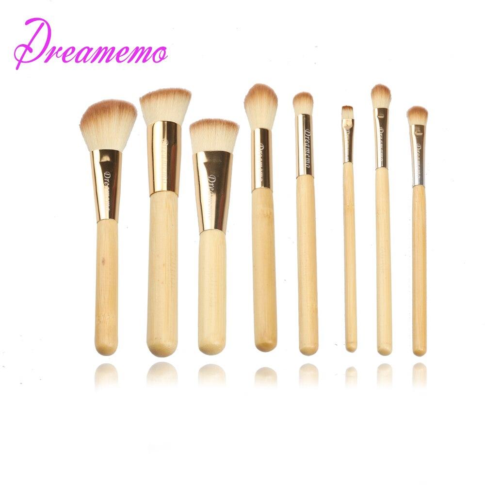 Dreamemo 8pcs Bamboo Makeup Brushes Kit Natural Soft Bristles Foundation Blush Eyeshadow Cosmetic Brush Make Up Tool Set