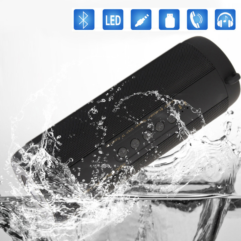 цена на Wireless Waterproof Bluetooth Speaker LED Flashlight Subwoofer Bluetooth Haut-parleur Speakerphone Column Box Portable Speaker