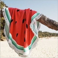 CAMMITEVER Watermelon Tapestry Beach Towel 100% Cotton Fruit Round Mandala Tassel Knitted Tapestries 150cm