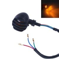 2pcs Retro retrofit turn signal old school style all metal black plating direction signal indicator Amber color For Harley|indicator|indicator turn signal  -