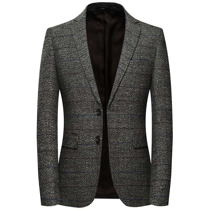 Men Wool Blazer Jacket Sleeve With Elbow Patch Plaid Tweed Suit Jackets Slim Fit Casual Business Dress Blazer Elgland Clothing