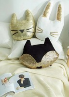 Creative Design Gold sequins Cushion Cat fox pattern Cushion pillow Home girl's bedroom decoration black hold pillow cushion