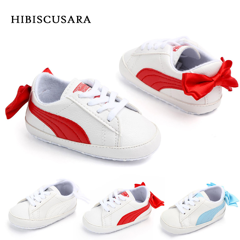 Baby Boy Girl Classic Sports Sneakers Newborn Bebe PU Leather Non-slip First Walkers With Bow Infant Toddler Soft Sole Shoes