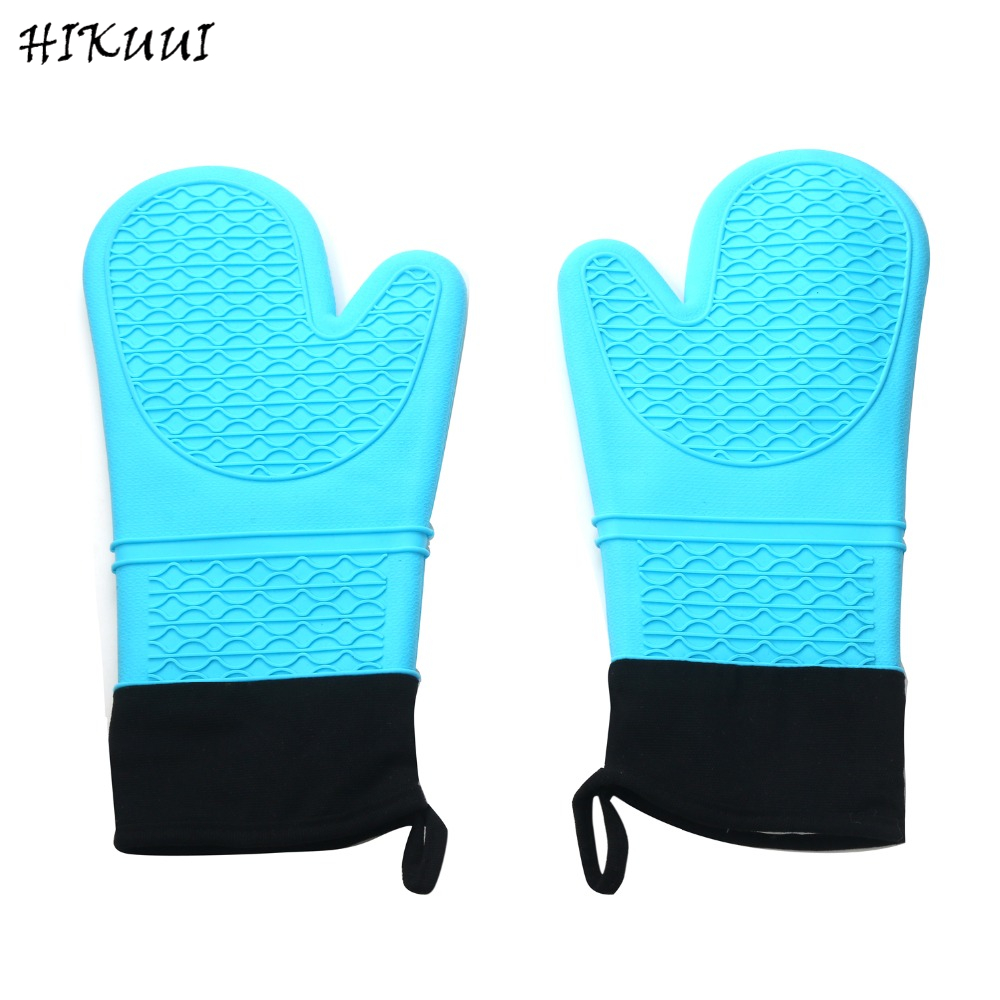 2pcs Blue Silicone Oven Gloves 14 Inch Heat Resistant