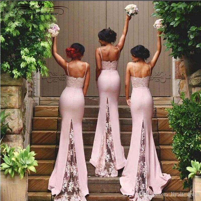 6d5e0a7f5ba2e robe demoiselle d honneur 2019 lace and satin sexy mermaid blush pink  bridesmaid dress long plus size wedding party gowns-in Bridesmaid Dresses  from ...