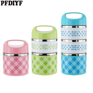 Colorful Thermal Lunch Box Leak-Proof Stainless Steel Japanese Bento Box For Kids Picnic Container For Food Storage
