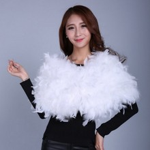 White Wedding Cape women fur cape New Real ostrich feather soft autumn winter S421