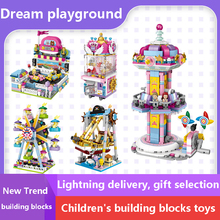 Children's Building Blocks Toy 3d Playground Ferris Wheel Burger Beverage shop Mini City Street View Shop Series Diy Compatible все цены