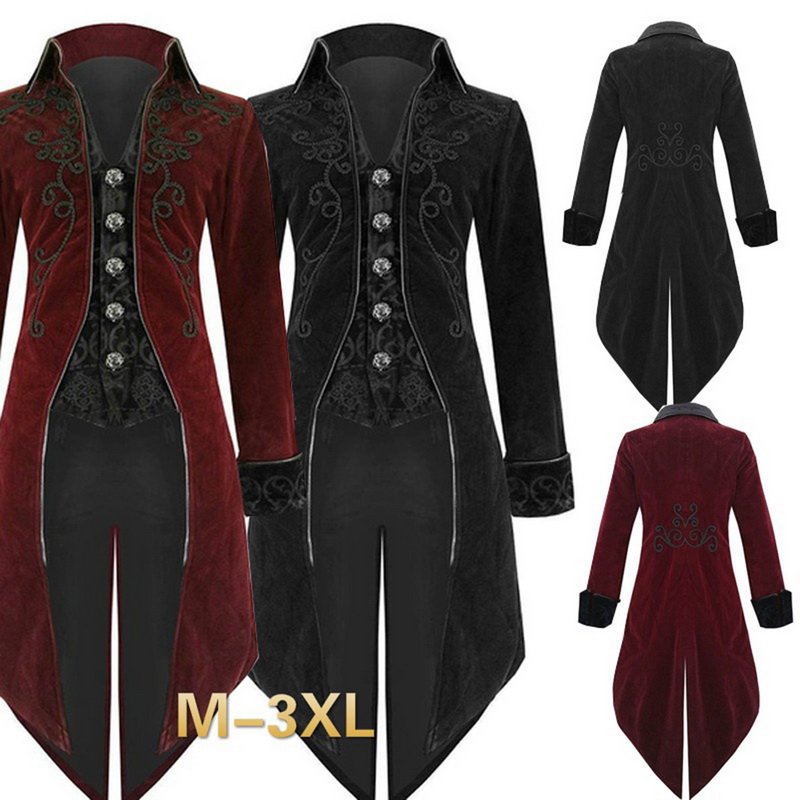 OLOME Autumn Men Halloween Vintage Suit Jacket Solid Long Costume Classic Slim Formal Jackets For Male Long Sleeves Tailcoat