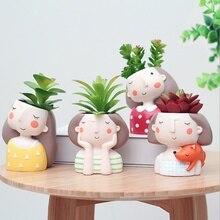 Flowerpot Plant Pot Cute Girl Flower Planter Home Garden Office Desk Decor Mini Bonsai Cactus Wedding Birthday Gift